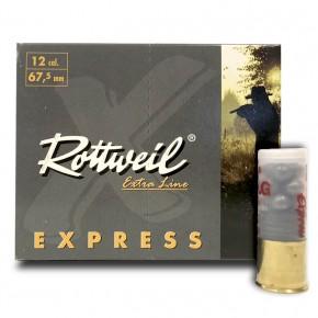 Cartouche Rottweil express chevrotine calibre 12 : 9 pellets de 8.6 mm