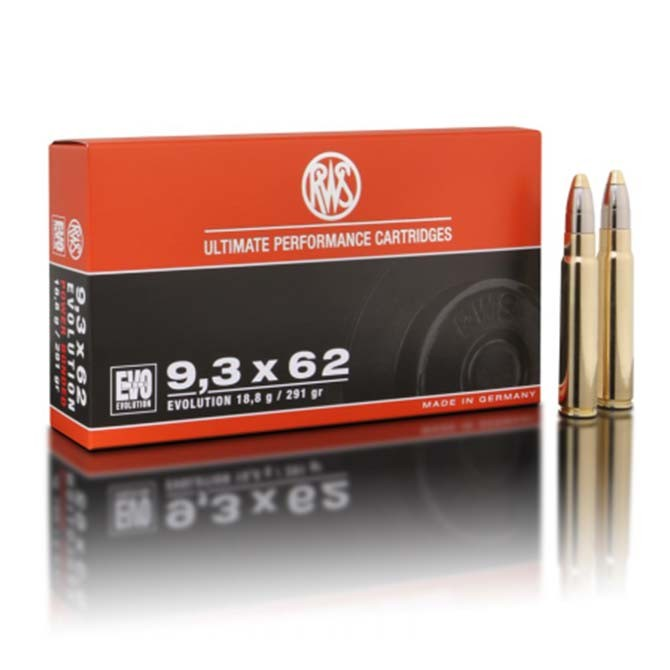 Munitions RWS calibre 9.3x62 Evolution 291 Gr