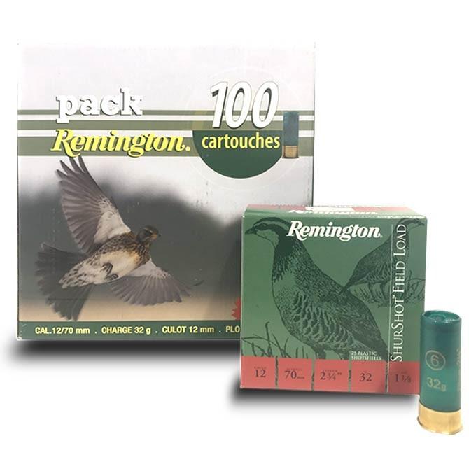 Pack 100 cartouches Remington Shurshot Calibre 12