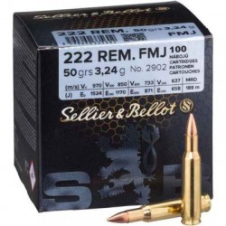MUNITIONS SELLIER - BELLOT 222 FMJ 3,2G VRAC X 100