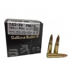 50 munitions Sellier & Bellot 7.62x39 123 grains FMJ