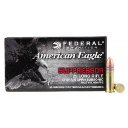 Munitions FEDERAL 22 LR Subsonic CPRN 45 Gr American Eagle