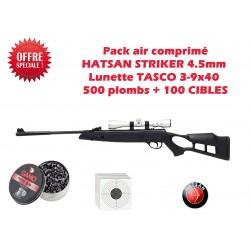 Pack HATSAN STRIKER 4.5mm + Lunette TASCO 3-9x40+ 500 plombs + cibles