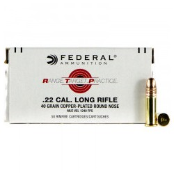 MUNITIONS FEDERAL 22LR COPPER PLATED ROUND NOSE 40 GRAINS