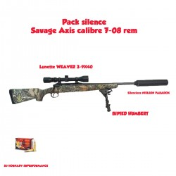 Pack silence SAVAGE AXIS XP CAMO, lunette, bipied, silencieux et munitions