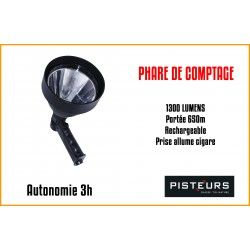 PHARE DE COMPTAGE PISTEURS LED 1300 NOIR 1300LM PORTÉE 650M RECHARGEABLE
