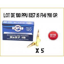 100 Cartouches à balle Partizan PPU 8x57 JS FMJ BT 198 gr