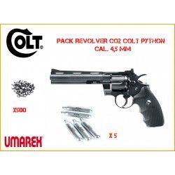 """Pack Revolver à plombs Umarex Colt Python 6\"""", diabolo, bb\'s"""