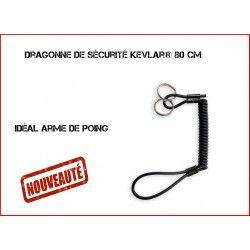 Dragonne de sécurité Kevlar® 80 cm avec anneaux porte-clés noir