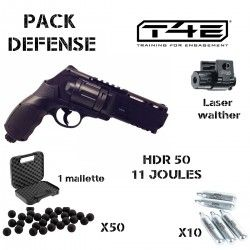 Pack Walther T4E HDR 50, 11 Joules+ 50 BILLES+ 10 CARTOUCHES GAZ + laser+ mallette