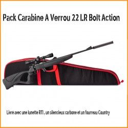 Pack Carabine A Verrou 22 LR Bolt Action + lunette+ silencieux+ fourreau