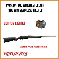 Pack BATTUE WINCHESTER XPR Stainless cal.308 Win filetée + POINT ROUGE BUSHNELL TRS25