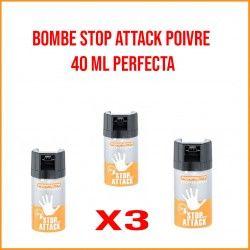 Pack 3 bombes de défense STOP ATTACK POIVRE 40 ML