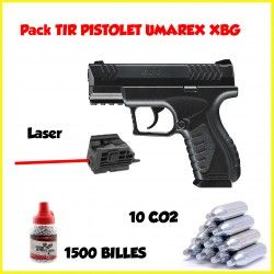 Pack Pistolet CO2 UMAREX XBG + 1500 billes + 10 CO2+ laser