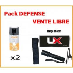 Pack DEFENSE SHOKER LAMPE 2.400.000 V + 2 BOMBES DE DEFENSE