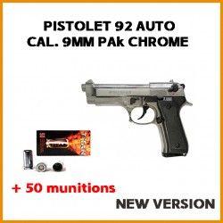 PISTOLET 92 AUTO CAL. 9MM PA CHROME NEW VERSION + 50 munitions