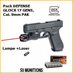 Pistolet GLOCK 17 Gen5 First Edition UMAREX cal.9mm P.A.K + munitions+ lampe laser
