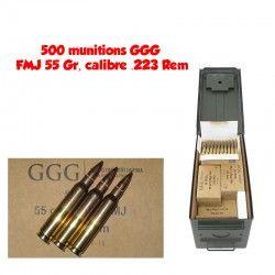 500 munitions GGG FMJ 55 Gr, calibre .223 Rem